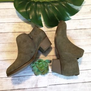 Naturalized olive suede ankle booties 5.5
